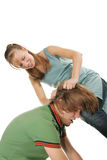 Young woman beat her boyfriend stock image