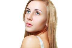 Young woman beautiful. Cheerful enjoying looking up Stock Image