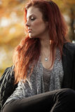 Young Woman with Beautiful Auburn Hair Stock Images