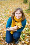 Young woman on a beautiful autumn day.  Royalty Free Stock Photos