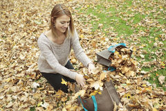 Young woman in beautiful autumn park, concept. A Young woman in beautiful autumn park, concept autumn royalty free stock photos