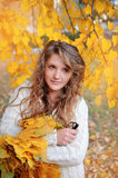 Young woman in beautiful autumn park, concept autumn Royalty Free Stock Images