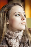 Young Woman with Beautiful Blue Eyes Stock Photography
