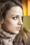 Young Woman with Beautiful Blue Eyes Stock Photo