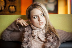 Young Woman with Beautiful Blue Eyes Stock Images