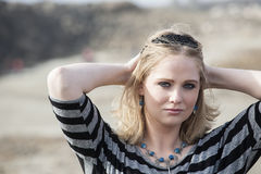 Young Woman with Beautiful Blue Eyes Royalty Free Stock Photography