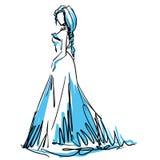 Young woman in beautiful evening dress. Fashion sketch Stock Image