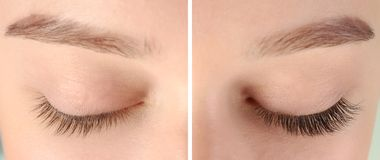 Young woman with beautiful eyelashes, closeup. Before and after extension procedure royalty free stock photography