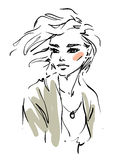 Young woman. Young beautiful woman. Fashion illustration Stock Illustration