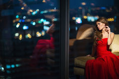 Young woman. Beautiful young girl in the apartment Royalty Free Stock Photos