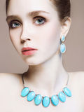 Young woman.Beautiful girl model with make-up Royalty Free Stock Photography