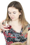 Young Woman with Beautiful Green Eyes Drinking Glass of Wine Stock Photo
