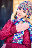 Young Woman Beautiful happy smiling Face Winter time Stock Photo