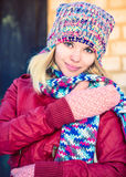 Young Woman Beautiful happy smiling Face Winter time Royalty Free Stock Images