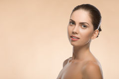 Young woman with beautiful healthy face - isolated Royalty Free Stock Photos