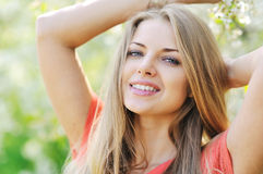 Young woman with beautiful healthy face Stock Photos