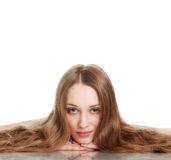 Young woman with beautiful long hair Stock Photo