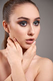 Young woman with beautiful make-up. Royalty Free Stock Photography