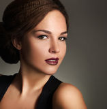 Young woman with beautiful makeup and retro hairstyle Royalty Free Stock Images