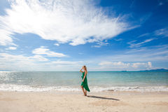 Young woman on beautiful tropical beach Royalty Free Stock Image