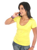Young woman beautiful using mobile phone Royalty Free Stock Images