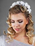 Girl with wedding hairstyle Royalty Free Stock Photos