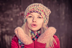 Young Woman Beautiful Winter time Stock Image
