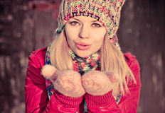 Young Woman Beautiful Winter time Royalty Free Stock Photos