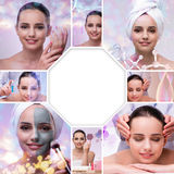 The young woman in beauty concept with abstract elements Stock Photos