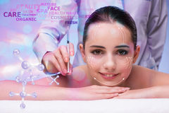 The young woman in beauty concept with abstract elements Royalty Free Stock Photo