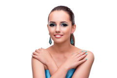 The young woman in beauty concept isolated on white Stock Images
