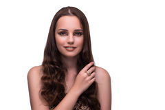 The young woman in beauty concept on white isolated background Royalty Free Stock Photography