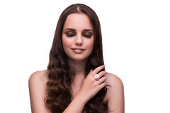 The young woman in beauty concept on white isolated background Stock Photo