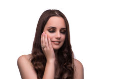 The young woman in beauty concept on white isolated background Royalty Free Stock Images