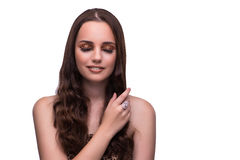 The young woman in beauty concept on white isolated background Royalty Free Stock Image