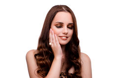 The young woman in beauty concept on white isolated background Stock Images