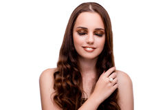 The young woman in beauty concept on white isolated background Stock Photos