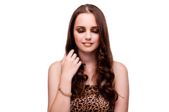 The young woman in beauty concept on white isolated background Royalty Free Stock Photo