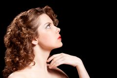 Young woman with beauty curly hairs Stock Photos