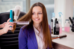 The young woman in beauty salon Royalty Free Stock Image