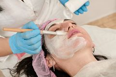 Young woman in beauty salon does make application of moisturizing, softening, regenerating mask. Before the rejuvenating, toning procedure darsonval on the face royalty free stock photo