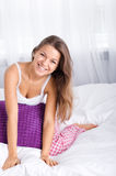 Young woman in bed. Bedtime collection: young woman in bed Royalty Free Stock Images