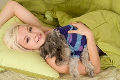Young woman in bed playing with schnauzer dog. Caucasian blond young woman lying down on bed and holding dog of Schnauzer breed Royalty Free Stock Image