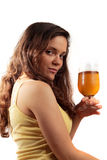 Young woman with beer. Shot of young woman holding glass of beer stock images
