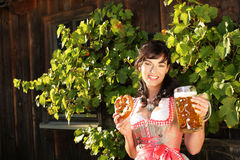 Young woman with beer glasses and bretzel. Woman with beer glasses and bretzel in traditional costume royalty free stock images