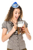 Young woman with beer Royalty Free Stock Images