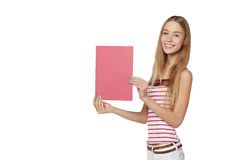 Young woman behind, holding blank advertising board banner, over Stock Photo