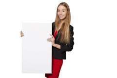 Young woman behind, holding blank advertising board banner, over Stock Photos