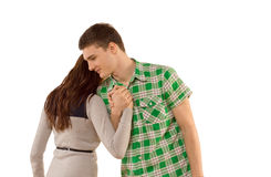 Young woman being comforted by her boyfriend Royalty Free Stock Photos