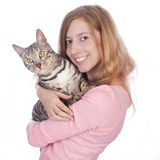 Young woman with bengal cat Royalty Free Stock Image